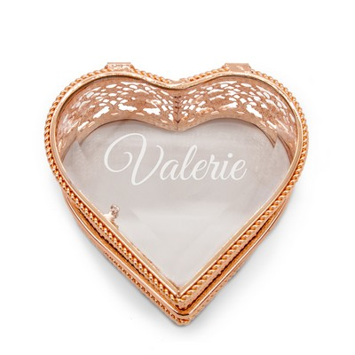Elegant Personalized Rose Gold Heart Jewelry Box for Her