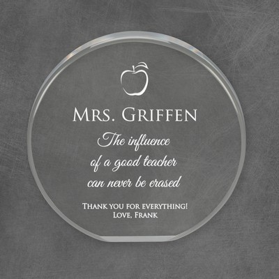 Personalized Round Acrylic Plaque for Teachers