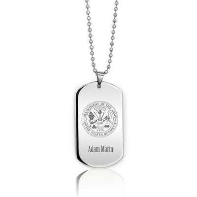 Personalized Silver Army Dog Tag Necklace