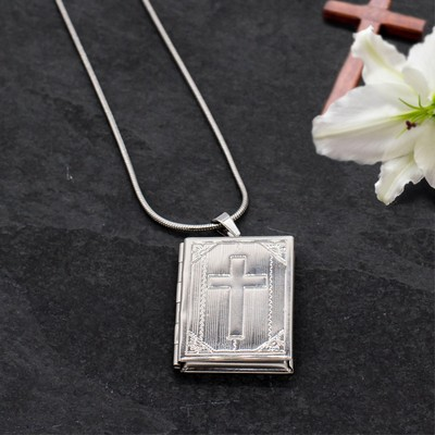 Unique Personalized Silver Holy Bible Locket Necklace