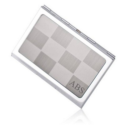 Silver Checkered Business Card Holder - ON CLEARANCE WHILE SUPPLIES LASTS