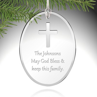 Personalized Cross Glass Ornament