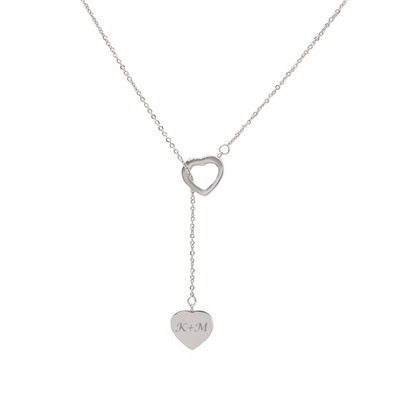 Special Personalized Silver Double Heart Necklace