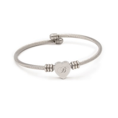 Superb Personalized Silver Heart Bracelet with Initial