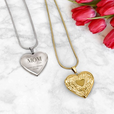 Personalized Heart Locket Necklace for Mom