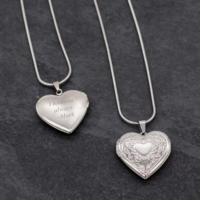 Charming Personalized Silver Heart Locket Necklace