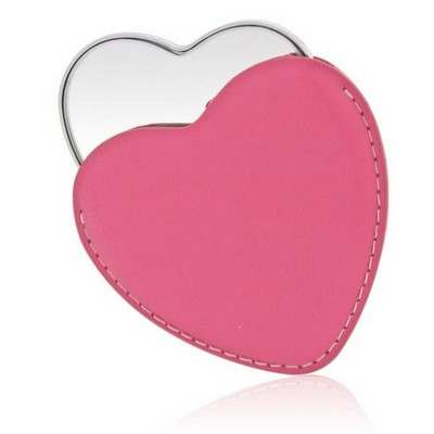 Personalized Silver Heart Shaped Mirror in Pink Leatherette Pouch
