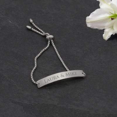 Stunning Personalized Silver ID Bracelet for Her
