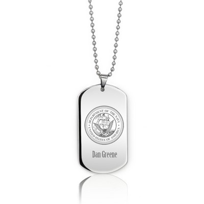 Impressive Personalized Silver Navy Dog Tag Necklace