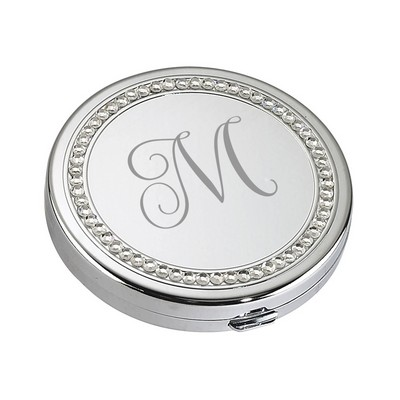 Personalized Silver Pocket Mirror with Crystals