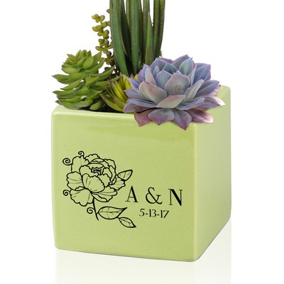 225 & Personalized Small Green Ceramic Vase