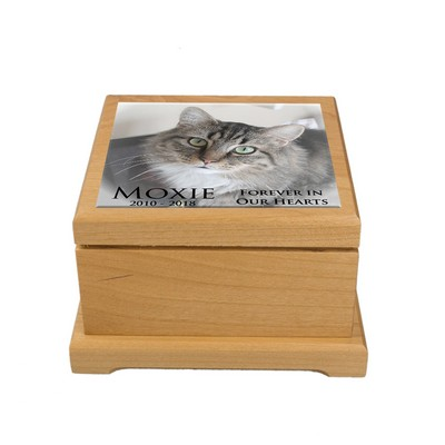 Personalized Small Red Alder Pet Urn with Photo