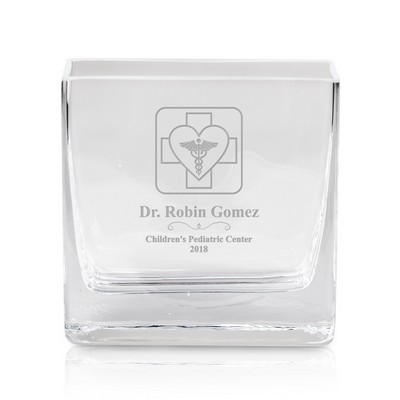 Personalized Square Glass Vase for Doctors