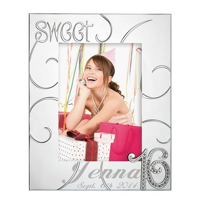 Personalized Sweet Sixteen 5x7 Lenox Silver Plated Picture Frame