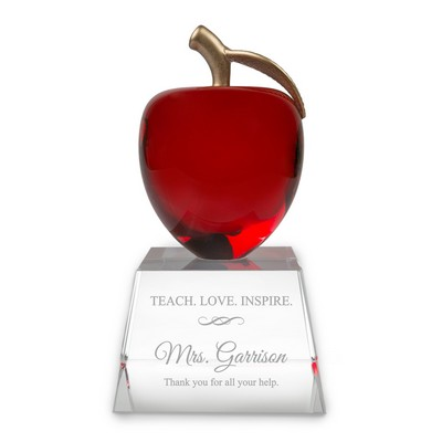 Teach Love Inspire Personalized Crystal Apple Recognition Award for Teachers