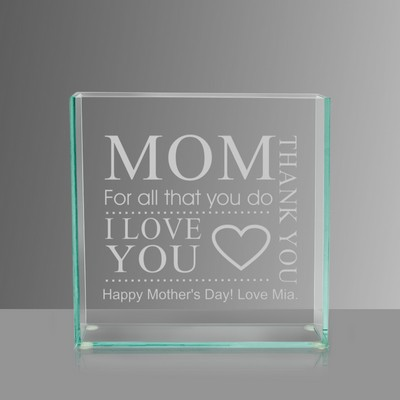 Personalized Thank You Glass Vase for Mom