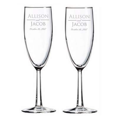Personalized Wedding Anniversary Glass Tosting Flutes