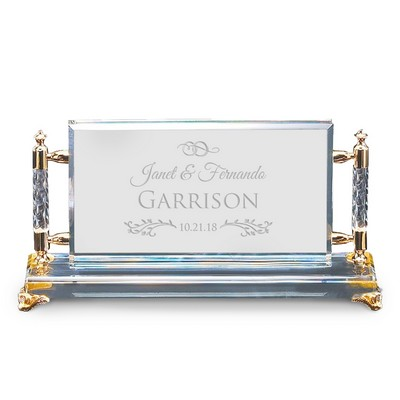 Exquisite Personalized Wedding Gold Accent Crystal Plaque