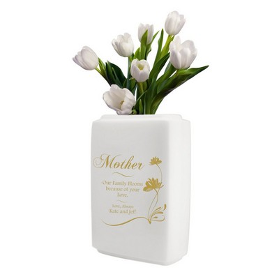 225 & Personalized White Ceramic Vase for Mom