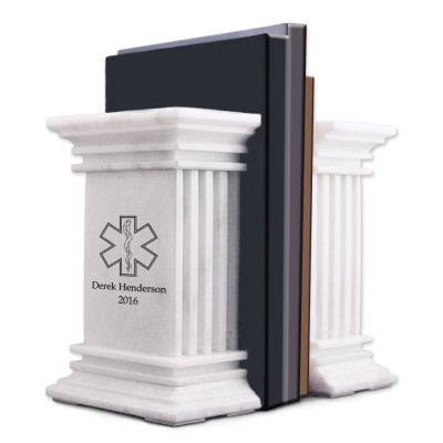 Personalized White Marble Medical Bookends with Rod of Asclepius