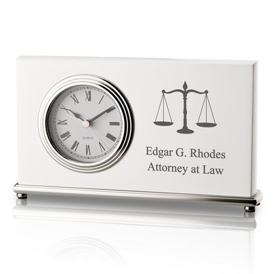 Personalized White Piano Finish Modern Clock for Lawyers