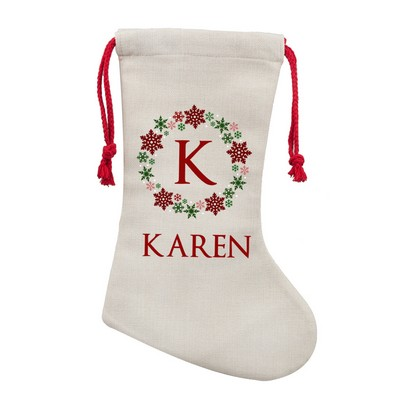 Personalized Wreath Poly Linen Christmas Stocking