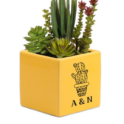 Personalized Yellow Ceramic Succulent Vase