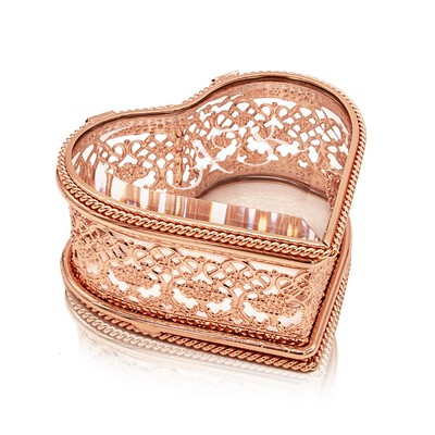 Impressive Personalized Rose Gold Heart Jewelry Box with Initials