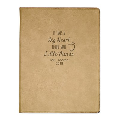 Special Personalzied Light Brown Leatherette Portfolio with Notepad for Teachers