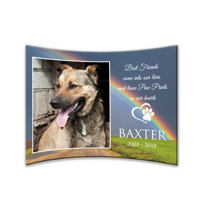 "Personalized Pet Memorial Curved 5"" x 7"" Acrylic Photo Panel"