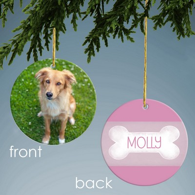 Pink Dog Bone Personalized Photo Ornament