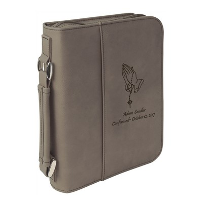 Praying Hands Personalized Gray Leatherette Bible Cover
