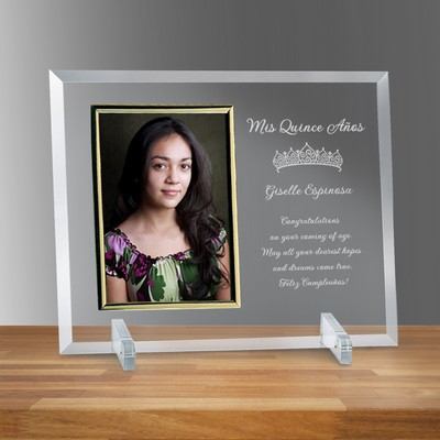 "Quinceanera Glass Vertical 5"" X 7"" Personalized Photo frame"