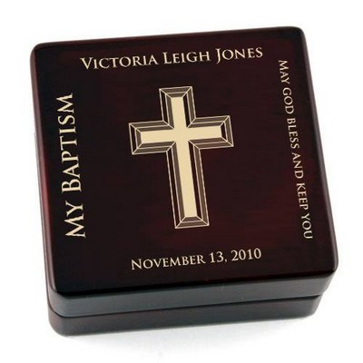 Personalized Contemporary Baptism Wooden Rosary Box