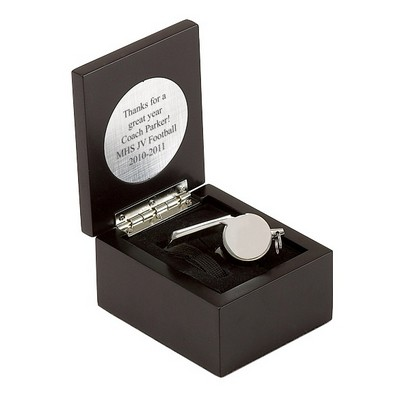 Silver Plated Whistle in Black Presentation Box