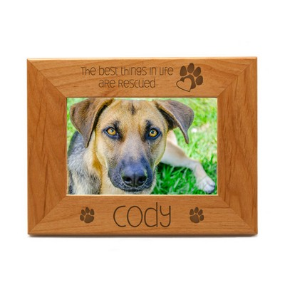 Rescued Pet Personalized 4x6 Wood Picture Frame