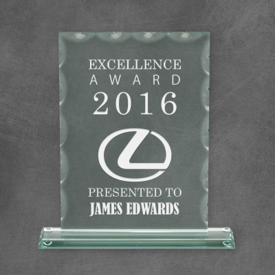 Ridged Jade Glass Excellence Award with Base