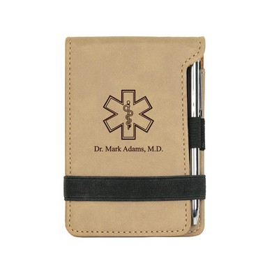 Rod of Asclepius Light Brown Leatherette Personalized Notepad & Pen