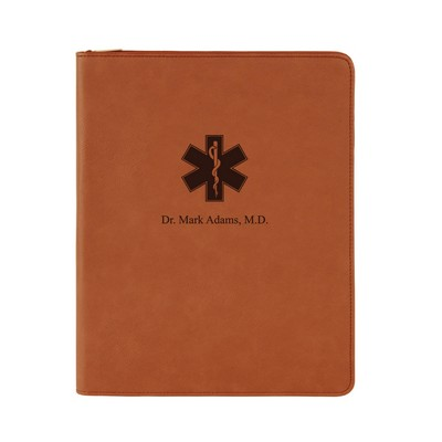 Rod of Asclepius Personalized Rawhide Leatherette Portfolio with Notepad