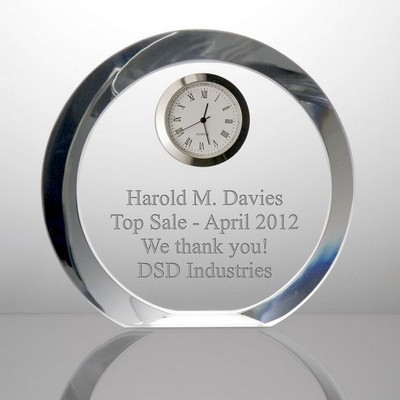 Round Engraved Crystal Desk Clock