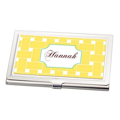 Yellow Weave Print Business Card Holder