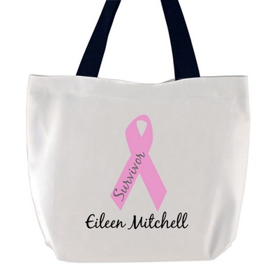 Breast Cancer Survivor Pink Ribbon Large tote bag