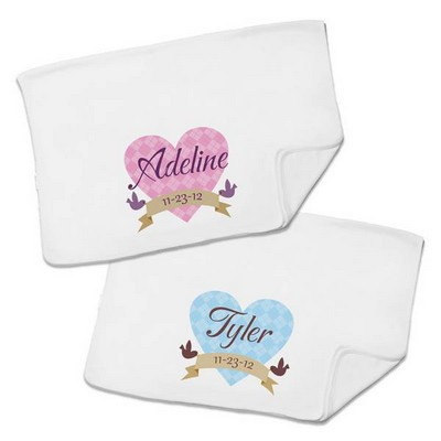 Loving Birdies Personalized White Baby Receiving Blanket
