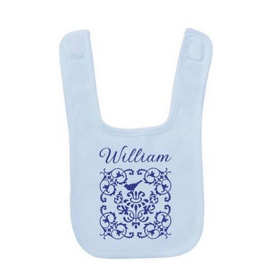Personalized Elegant Blue Baby Bib