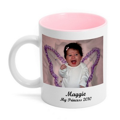 Design Your Own Photo Mug with Pink Interior