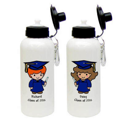 Custom Character Graduate Aluminum Water Bottle