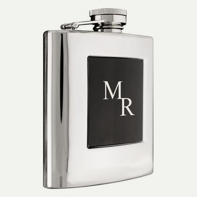 Stainless Steel Monogrammed Silver and Black Flask