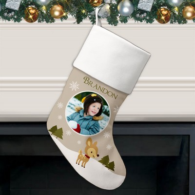 Little Reindeer Holiday Photo Personalized Christmas Stocking