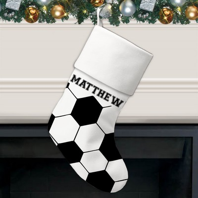 Soccer Ball Pattern Personalized Christmas Stocking