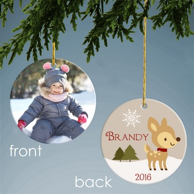 Holiday Deer Personalized Ceramic Photo Ornament